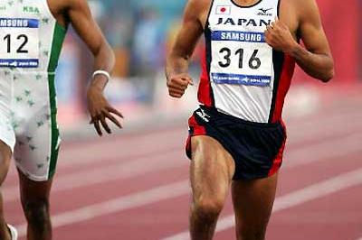 Shingo Suetsugu of Japan wins the 200m at the Asian Games (Getty Images)