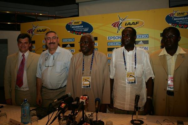 President Lamine Diack with General Secretary Pierre Weiss at the IAAF Press Conference in Mombasa (Getty Images)