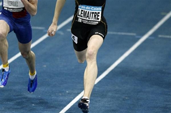 Christophe Lemaitre running 60m in Liévin (Pascal Bonniere)