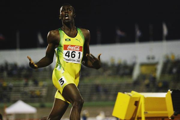 Usain Bolt of Jamaica at the 2002 IAAF World Junior Championships in Kingston (Getty Images)