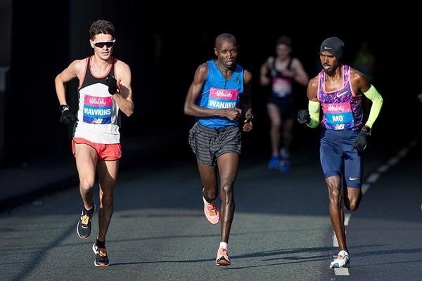 Mo Farah (right) on his way to winning The Big Half (Organisers)