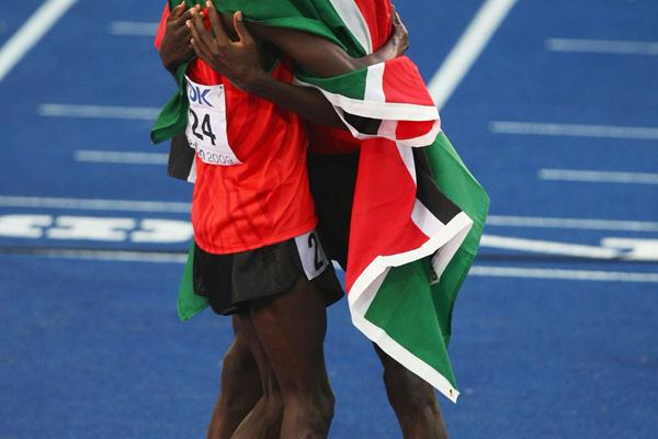 (L-R) Ezekiel Kemboi of Kenya and Richard Kipkemboi Mateelong of Kenya congratulate each other on their 3000m steeplechase gold and silver medals (Getty Images)