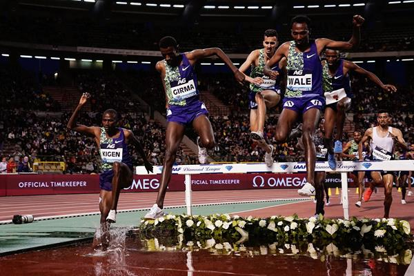 Lamecha Girma leads the steeplechase at the Diamond League meeting in Paris (AFP / Getty Images)