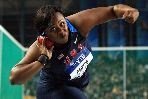 Michelle Carter of the United States competes in the Women's Shot Put Final during day two - WIC Istanbul (Getty Images)