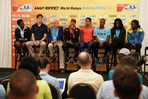 Athletes talk at the press conference ahead of the IAAF/BTC World Relays Bahamas 2017 (Getty Images)