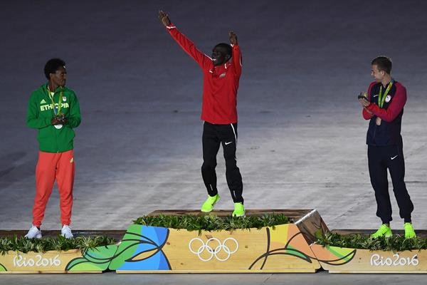 Eliud Kipchoge before receiving his gold medal at the closing ceremony of the 2016 Rio Olympic Games (Getty)