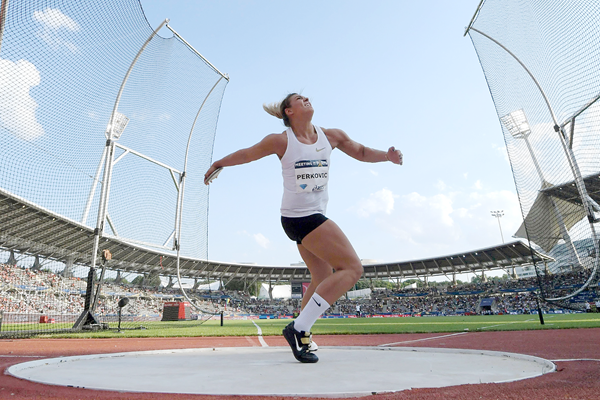 Sandra Perkovic breaks her own meeting record at the IAAF Diamond League meeting in Paris (Kirby Lee)