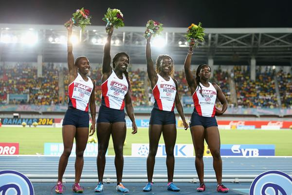 Bianca Williams, Anyika Onuora, Desiree Henry and Asha Philip of Great Britain & NI at the IAAF World Relays (Getty Images)