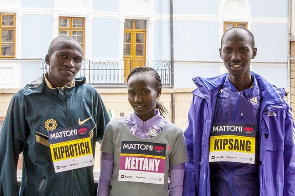Stephen Kiprotich, Mary Keitany and Wilson Kipsang ahead of the Olomouc Half Marathon (Mattoni Olomouc Half Marathon)