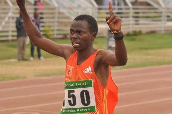Vedic Cheruiyot wins the 3000m at the 2013 Kenyan World Youth Trials (Jonah Onyango, The Standard)