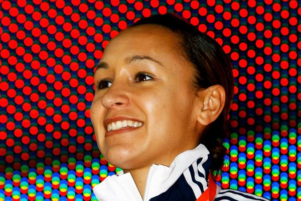 Jessica Ennis of GBR receives the gold medal (Getty Images)