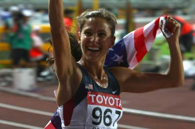 Kara Goucher of the US celebrates winnning bronze in the women's 10,000m final (Getty Images)