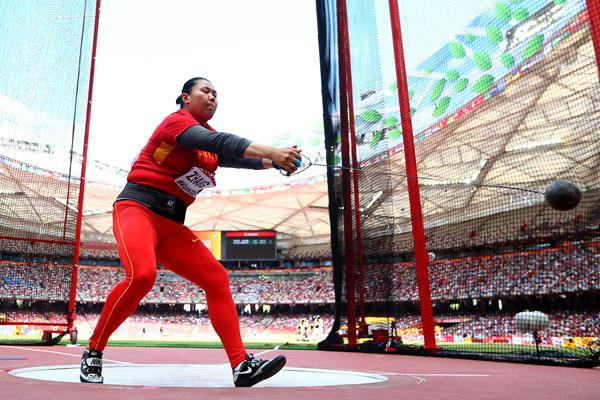 Zhang Wenxiu in hammer qualifying at the IAAF World Championships, Beijing 2015 (Getty Images)