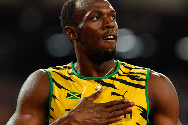 Usain Bolt after winning the 200m at the IAAF World Championships Beijing 2015 (AFP / Getty Images)