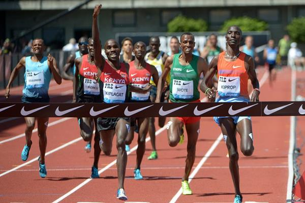 Silas Kiplagat winning at the 2013 IAAF Diamond League meeting in Eugene (Kirby Lee)