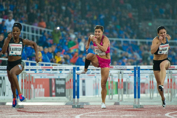 Susanna Kallur in the 100m hurdles at the IAAF Diamond League meeting in Stockholm (Getty Images)