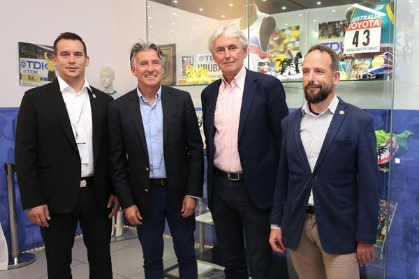 Valter Bocek, Sebastian Coe, Libor Varhanik and Tomas Macura in Ostrava (Ales Graf / IAAF)