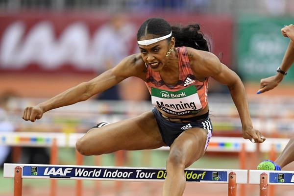 Christina Manning on her way to 60m hurdles victory in Düsseldorf (Gladys Chai von der Laage)