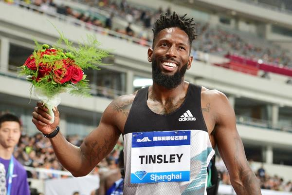 Michael Tinsley at the 2016 IAAF Diamond League meeting in Shanghai (Errol Anderson)