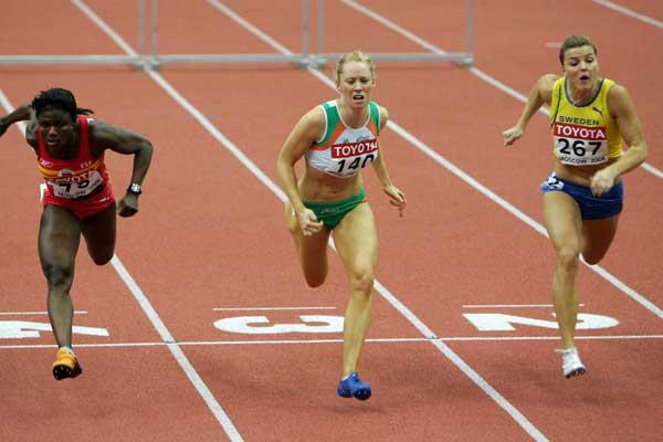 Derval O'Rourke of Ireland, Glory Alozie of Spain and Susanna Kallur of Sweden win gold, silver and bronze in the 60m Hurdles final (Getty Images)