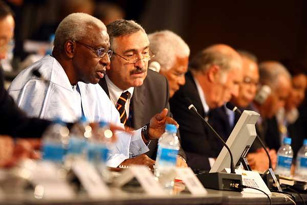 President Lamine Diack and General Secretary Pierre Weiss - IAAF Congress (Getty Images)