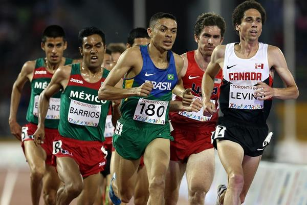 The men's 5000m final, with winner Juan Luis Barrios (far left) at the 2015 Pan American Games (Getty Images)