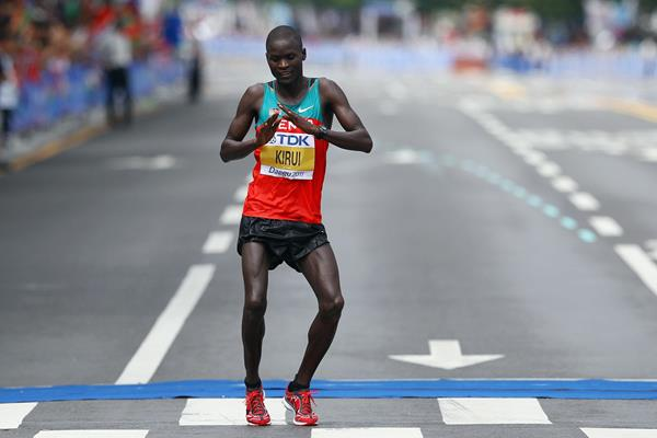 Abel Kirui celebrates his marathon victory at the 2011 World Championships (Getty Images)