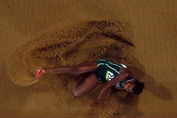 Blessing Okagbare, a late addition to the long jump final, smashes her PB to win bronze with 6.91m (Getty Images)