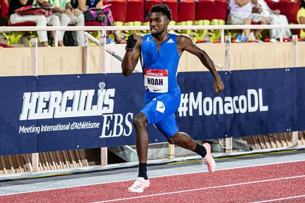 Noah Lyles in action in the 200m at the Diamond League meeting in Monaco (Philippe Fitte)