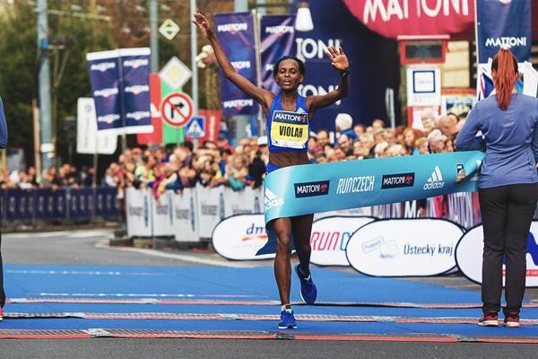 Violah Jepchumba wins the Usti nad Labem Half Marathon (Organisers)
