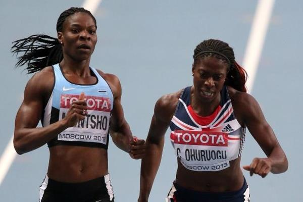 Christine Ohuruogu and Amantle Montsho in the women's 400m final at the IAAF World Championships Moscow 2013 (Getty Images)