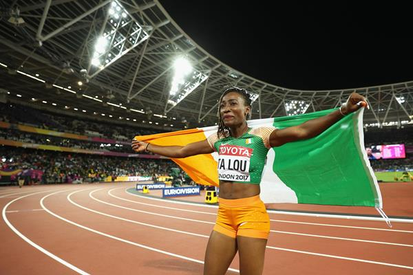 Marie-Josee Ta Lou of Ivory Coast after taking the silver medal over 100m at the IAAF World Championships London 2017 (Getty)