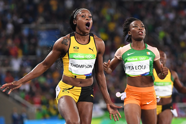 Elaine Thompson and Marie-Josee Ta Lou in the 100m at the Rio 2016 Olympic Games (AFP / Getty Images)