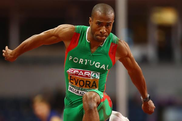 Nelson Evora of Portugal, the European indoor champion in the triple jump in Belgrade (Getty Images)