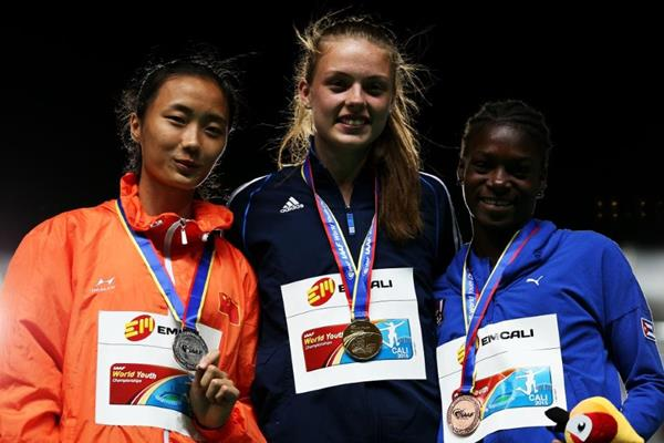 Girls' triple jump podium at the IAAF World Youth Championships, Cali 2015 (Getty Images)
