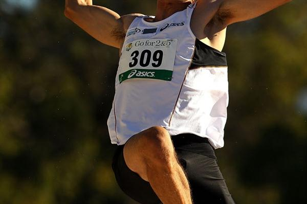 Fabrice Lapierre flying to a windy 8.78m leap in Perth (Getty Images)