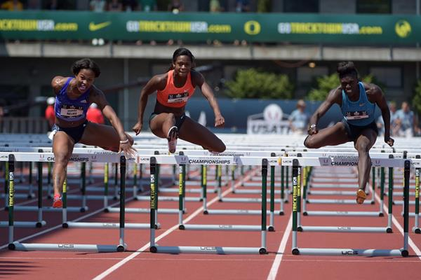 The women's 100m hurdles final at the 2015 US Championships with winner Dawn Harper Nelson on the far right (Kirby Lee)