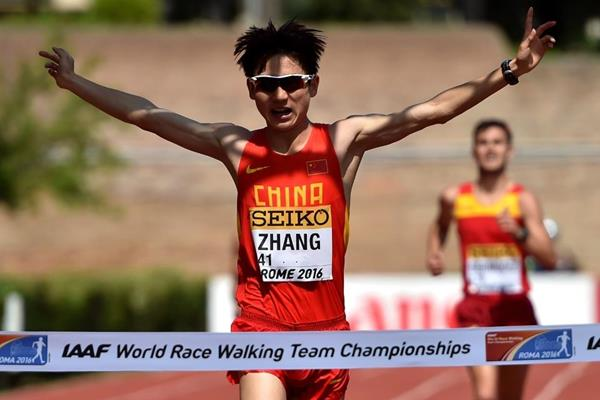Zhang Jun wins the U20 men's 10km at the IAAF World Race Walking Team Championships Rome 2016 (Getty Images)