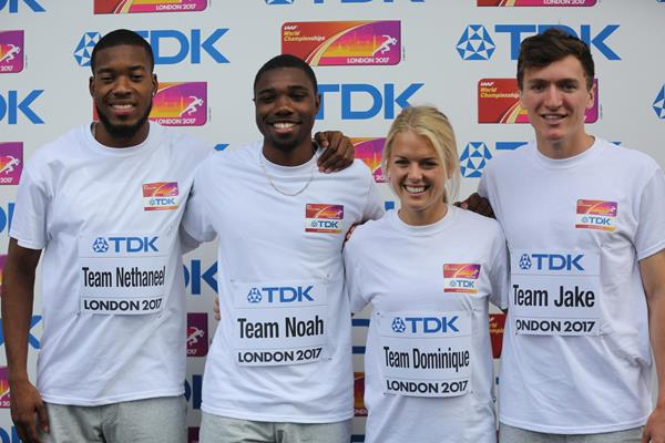 Nethaneel Mitchell-Blake, Noah Lyles, Dominique Scott and Jake Wightman at the TDK Rising Stars Clinic in London (organisers)