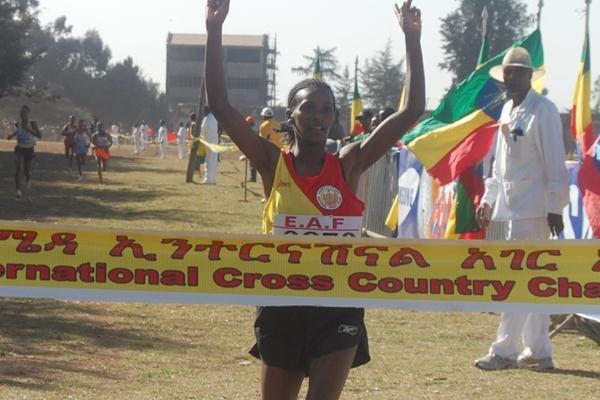 Sule Utura taking the junior race at the Ethiopian World Cross Country Championships trials (Elshadai Negash)