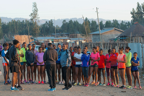 Coach Haji Adilo instructing his group of elite women in Sendafa (Paul Gains)