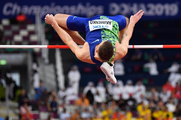 Mikhail Akimenko in the high jump at the IAAF World Athletics Championships Doha 2019 (AFP / Getty Images)
