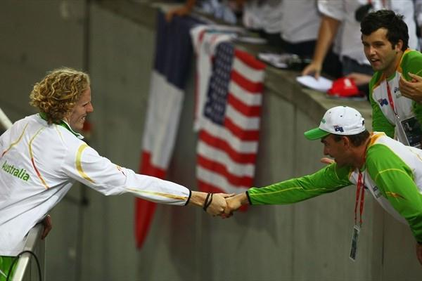 Pole Vault Olympic and World Champion Steven Hooker of Australia is congratulated by his coach in Berlin (Getty Images)