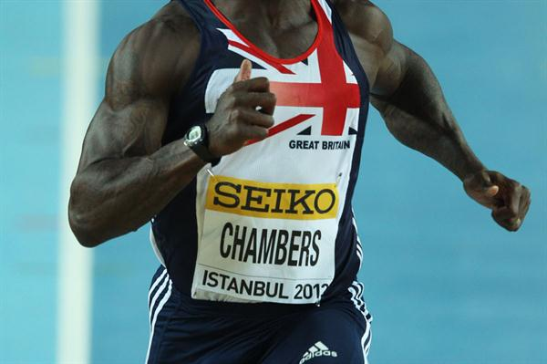 Dwain Chambers of Great Britain competes in the Men's 60 Metres first round during day one - WIC Istanbul (Getty Images)