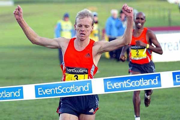 Sergiy Lebid the winner of the mne's 4km race in Edinburgh (Mark Shearman)