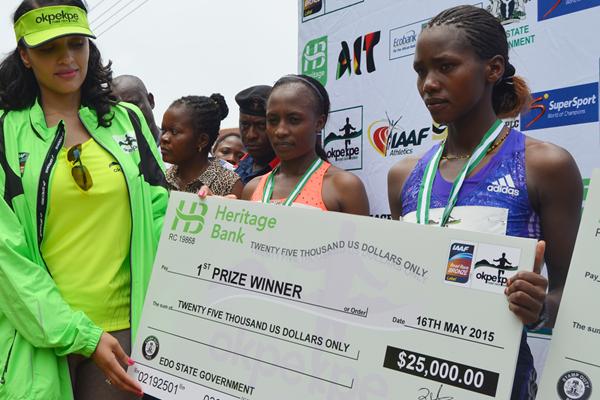 Angela Tanui after winning the Okpekpe 10km Road Race (Organisers)
