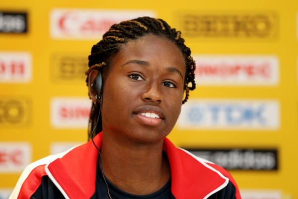 Candace Hill at the pre-event press conference for the IAAF World Youth Championships Cali 2015 (Getty Images)