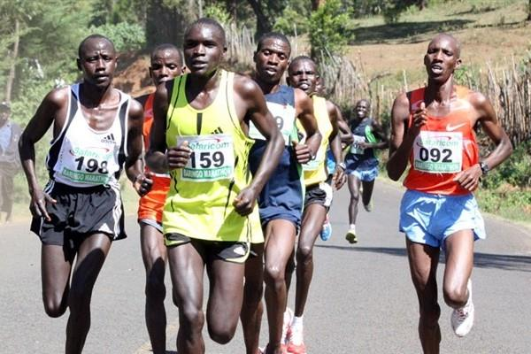 Eric Ndiema (159) leading Yusuf Songoka (092) and Vincent Kiplagat (198) at the Baringo Half Marathon (David Macharia)