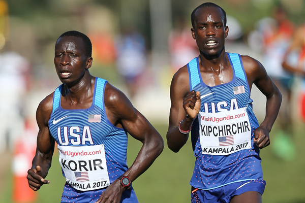 Leonard Korir and Shadrack Kipchirchir in action at the IAAF World Cross Country Championships (Roger Sedres)