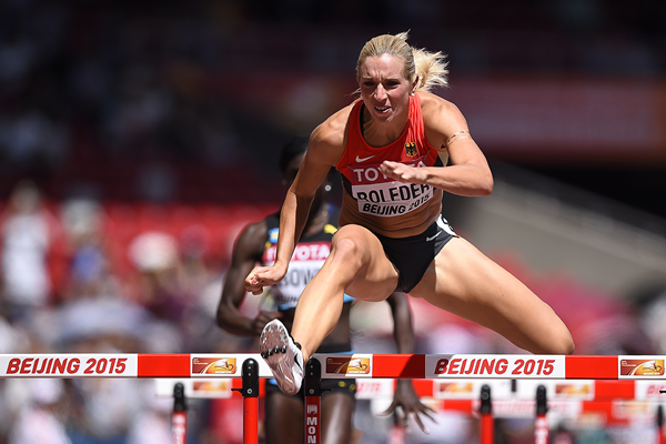 Cindy Roleder in the 100m hurdles at the IAAF World Championships Beijing 2015 (AFP / Getty Images)